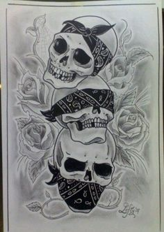 See no evil, Hear no evil, Speak no evil skull tattoo design (22)