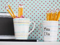 HGTV Crafternoon: Back-to-School Teacher's Mug Gift (http://blog.hgtv.com/design/2014/08/26/weekday-crafternoon-back-to-school-teachers-mug-gift/?soc=pinterest)