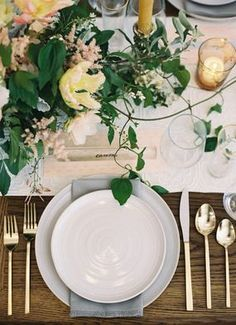 Love the gray napkin under the salad plate on a farm table with simple runner!