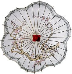 LunaBazaar.com This beautiful rice paper parasol with Cherry Blossoms. It is 33 inches in diameter and has a 25 inch bamboo stem with a carved wooden handle. The top is decorated with a paper covered finial. Our parasols are designed principally to provide shade from the sun.  They're also beautiful as wedding decor or favors (they look especially good when backlit!)  For 24 or more, price is  10.50$