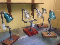 Retired Glass Insulators Repurposed Into Lamps