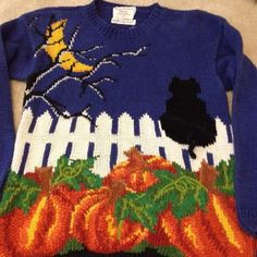 Ugly Tacky Awesome Halloween Sweater Small S Cat With 3D Tail! | eBay
