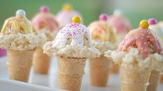 Rice Krispy ice cream cones would be fun alternative to cupcakes for a party