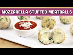 Easy Mozzarella Stuffed Meatballs - Low Fat - Mind Over Munch - YouTube