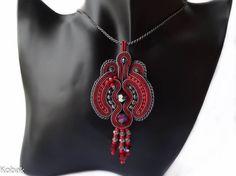 Marsala Grey Red Soutache Pendant Bordo Pendant Hand Embroidered Pendant Swarovsk Crystals Pendant Marsala Gray Pendant Marsala Jewelry