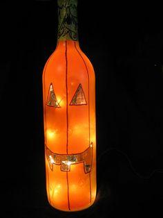 Lighted Pumpkin Wine Bottle