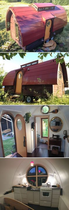 This unique 18' tiny house by Zyl Vardos includes a cupola with 10 windows (four open for ventilation) and handmade windows, doors, cabinets, and armoire.