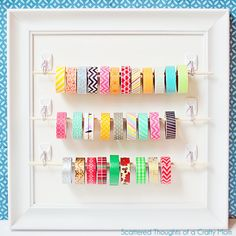 Hang a dowel between two hooks for pretty washi tape storage. | 31 Clever Ways Hooks Can Organize Your Entire Life