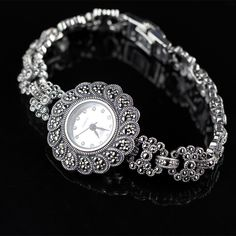 117.70$  Watch here - http://ali55n.worldwells.pw/go.php?t=32775919490 - New Limited Edition Classic Elegant S925 Silver Pure Thai Silver Bracelet Watches Thailand Process Rhinestone Bangle Dresswatch