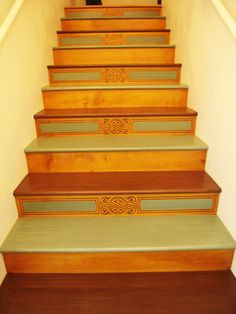 Close-up of beautiful stenciled stairs you can find at the Royal Design Studio. Creative Decor, Beautiful Wall, Royal Design Studio, Flooring For Stairs, Beautiful Doors, Stenciled Stairs, Stairs Design, Stairs, Stairways
