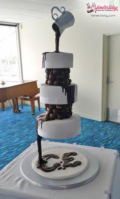 3 Tier Chocolate Waterfall Wedding Cake