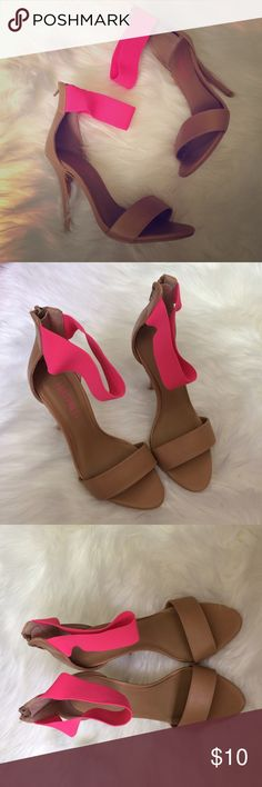 Forever 21 High Heel Sandals 4 inch tan and neon pink strap sandals from Forever 21. Gently used. Forever 21 Shoes Heels