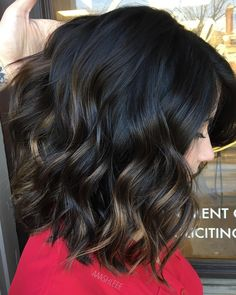 Medium, Beachy Waves with Ombre Highlights - 40 On-Trend Balayage Short Hair Looks - The Trending Hairstyle Brown Ombre Hair, Hair Color For Black Hair, Brown Hair Colors, Black Hair With Highlights, Bayalage Black Hair, Black Hair With Lowlights, Balayage Hair Dark Short, Black Balayage, Partial Highlights