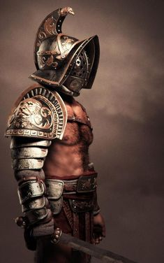 Gladiators were a large part of life in ancient Rome, and the different strengths and weaknesses of the equipment sets given to fighters could make a good battle mechanic. Gladiator Tattoo, Gladiator Armor, Roman Armor, Arm Armor, Ancient Armor, Medieval Armor, Gladiator Costumes, Roman Gladiators, Roman Warriors