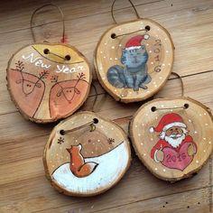 """Купить Елочные игрушки/интерьерные подвески """"Веселые ребята"""" - разноцветный, на елку, из дерева, деревянный, новогодние украшения"""