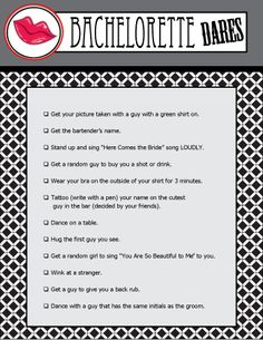 Printable Bachelorette Party Game! Bachelorette Dares is an entertaining game for the bachelorette -she must complete the list of dares on her BIG night out! #bacheloretteparty #bachelorettepartygames