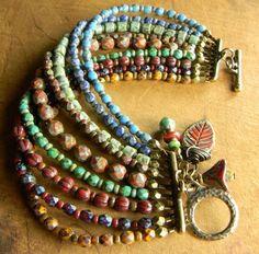 Tribal Jewelry Boho Bracelet Multi-Strand Czech by ChrysalisToo