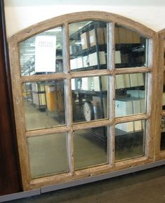 window, mirror, diy idea, salvage window and mirror the panes, living room (above the mantel? Arched Window Mirror, Arched Windows, Diy Mirror, Mirror Ideas, Window Pane Decor, Old Window Panes, Frame Wall Decor, Frames On Wall, Young House Love