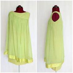 Vintage 1960s Green Chiffon Caped Cocktail // by InPursuitVintage