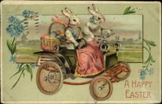 EASTER FANTASY White Rabbits Drive Old Car Roadster c1910 Postcard