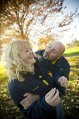 engagement photos. Trying to get a kiss. Fall colors. Ann Arbor, MI.