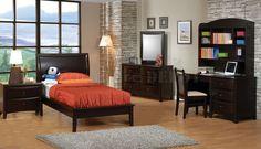 Deep Cappuccino Finish Kids Contemporary Bedroom w/Platform Bed