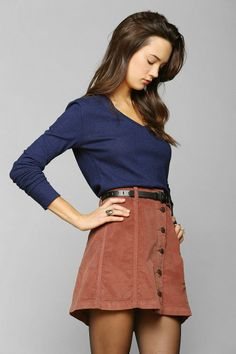 BDG Button-Front Corduroy A-Line Skirt #urbanoutfitters