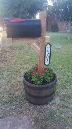 Mailbox barrel planter Source by
