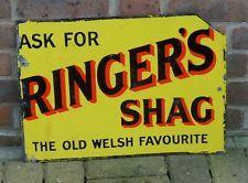 Vintage Rare Enamel Sign - RINGER'S SHAG - double sided good colour circa 1920's