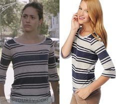 Shameless: Season 3 Episode 3 Fiona's Navy/Grey Striped Top