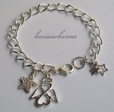 Ooak 'Guardian Angel & Stars' CHARM BRACELET. New