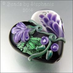 PURPLE BLACK GREEN Floral Heart Glass Bead by beadsbystephanie, $38.00