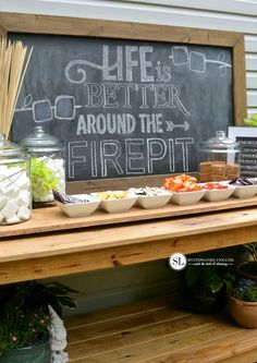 Smores Bar Party buildyourown smores party table set up bystephanielynn bar Bar Set Up, Table Set Up, A Table, Picnic Tables, Grad Parties, Holiday Parties, Bonfire Parties, Summer Parties, Wedding Table Setup
