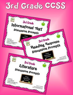 3rd Grade CCSS Aligned Reading Discussion Prompts is a collection of 3 sets of 8 prompts each to guide whole class or cooperative learning discussions. Using these 24 prompts will foster effective discussions and help you meet English Language Arts Standards. These questions are the same questions as the 3 sets in the 3rd Grade Talking Sticks Book Discussion pack; the only difference is that these are formatted to make them easy to display in front of the class. $