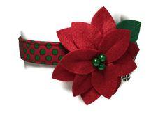 V.I.P. Christmas Polka Dot Poinsettia Dog Collar by jeanamichelle