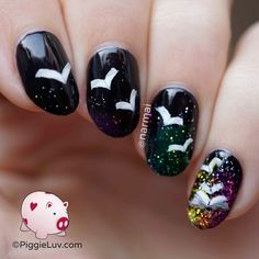 PiggieLuv: Flying book pages nail art