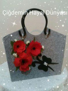 borsa in feltro con fiori papaveri