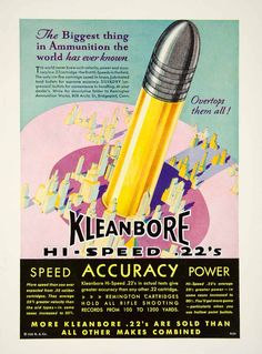 1931 color print ad for Kleanbore Hi-Speed .22 caliber long rifle ammo that was made by the Remington Arms Company
