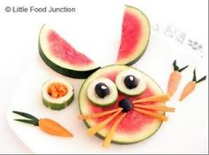 kids food - watermelon bunny for Easter (yes, watermelons were available at Easter 2013!)