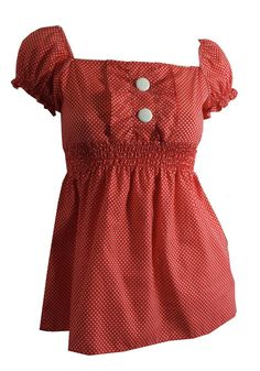 Red polka dotted smocked blouse, 1970s. Dorothea's Closet Vintage.