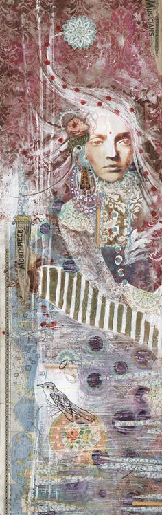 "Anahata Katkin.  6"" panel on textured wallpaper.  "" I wanted to apply the same techniques I was familiar with in my art journals but on a much larger scale.  I found that going from impulse-to-impulse and changing mediums allows the mind to stay out of the process and for the artwork to flow at a much faster rate."""