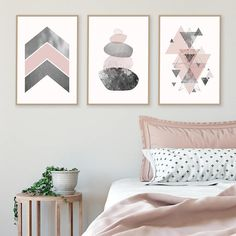 Great Set Of 3 Downloadable Prints Pink Grey Silver Printable Geometric Art  Poster Wall Bedroom Decor Balancing Stones Scandinavian Trending Now Photo