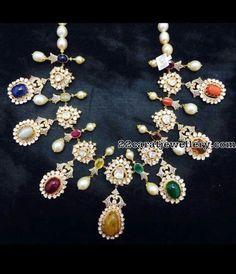 Kundan Necklace with Navaratan Stones - Jewellery Designs Indian Wedding Jewelry, Indian Jewelry, Bridal Jewelry, Beaded Jewelry, Gold Jewellery, Antique Jewelry, Vintage Jewelry, Minions, Necklace Designs
