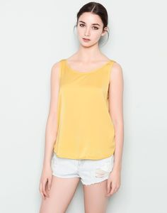 Pull&bear Basic Strap Top in Yellow | Lyst