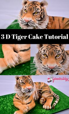 Amazing 3D Tiger Cake Tutorial. The details on this cake is unbelievabele and the realism is wow....! #cake #tutorial #animal #cakedecorating #howtocake