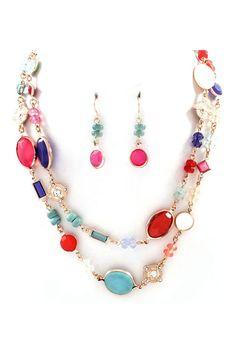 Beverly Necklace & Earrings in Poppy.