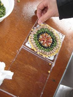Lentils, beans and dried vegetables to create a mosaic in a CD case.  Glue in place, let dry and close cover.