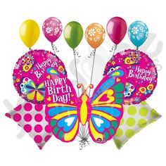 Bright & Colorful Happy Birthday Butterfly Balloon Bouquet