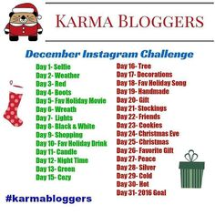 Karma Bloggers December Instagram Challenge! #karmabloggers