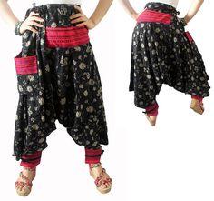 Harem Pants Drop Crotch Black Floral Pants/Genie Pants/Hippie pants/Gypsy Pants/Hareem Pants/Yoga Pants Trouser Baggy Pant